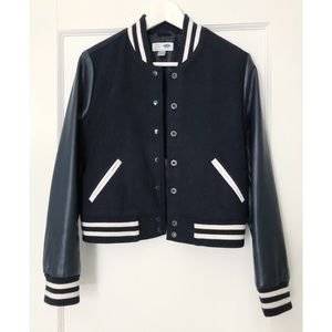 Jackets & Blazers - Navy Blue Bomber Jacket with Faux Leather Sleeve